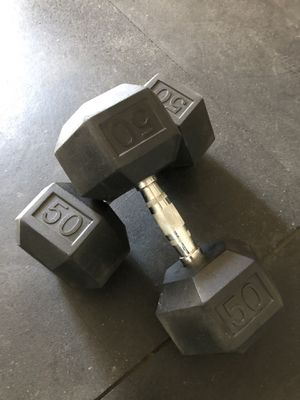 Rubber Hex 50lb dumbbells for Sale in San Diego, CA