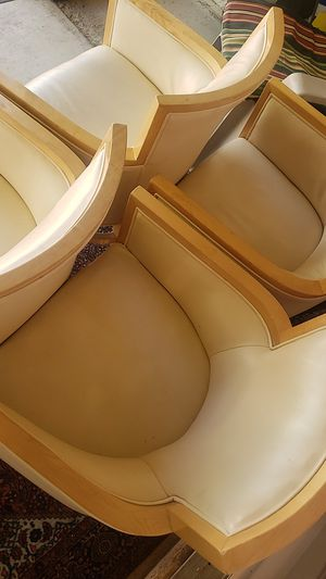 Chairs - 4 Set Cream Leather Wood for Sale in Las Vegas, NV