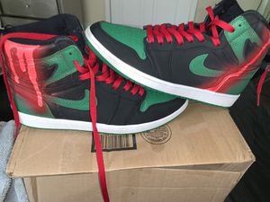 Jordan 1 Retro - Pine Green Black W/ Custom Red Design for Sale in Terre Haute, IN