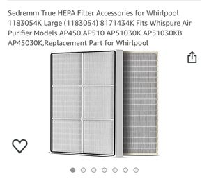 HEPA FILTER ACCESSORIES FOR WHIRPHOOL for Sale in San Jose, CA