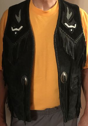 Black leather western style motorcycle vest. for Sale in Wheaton, IL