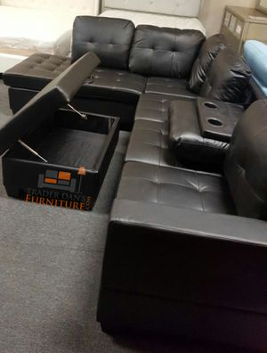 Brand new black leather sectional sofa with storage ottoman for Sale in Silver Spring, MD