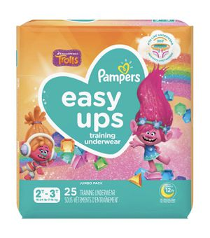 Pampers Easy Up Girl's Trolls Training Underwear Jumbo Pack - Size 2T-3T - 25ct for Sale in Temple City, CA