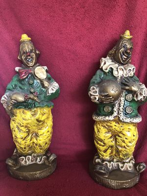 """Mid Century Kendrick Clowns Universal Statuary 1966 Chalk Plaster Statues 17"""" Vintage Collectable for Sale in Corona, CA"""
