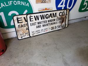 1940's Hand Painted Whitter Window Cleaning Company Sign Great Patina for Sale in Alta Loma, CA