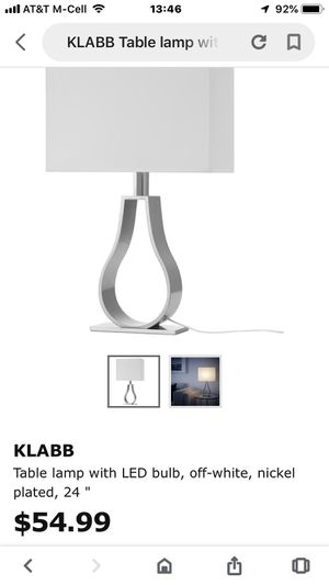 IKEA Klabb table light lamp white shade silver nickel plated base modern for Sale in Oakland Park, FL