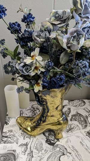 Gold Victorian boot vase with blue flowers for Sale in Arvada, CO
