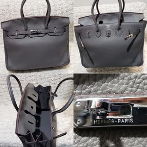Hermes birkin bag grey leather with dust bag and accessories for Sale in Miami Beach, FL