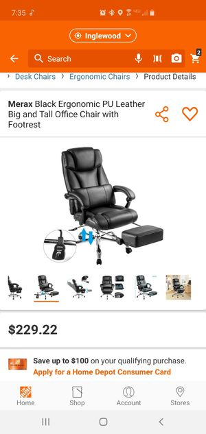 Reclining Office/Desk Chair with Footrest for Sale in Inglewood, CA
