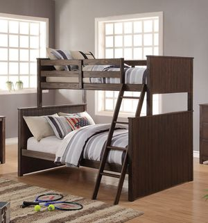 Just $50 down - Hector twin over full brown bunk bed youth kids for Sale in Miami, FL