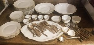 BOHEMIAN CZECHOSLOVAKIA CHINA ANTONETTE VINTAGE & HOLMES AND EDWARD SILVERWARE SET for Sale in Denver, CO