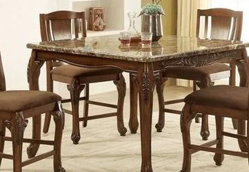 5 PCS Sabrina Collection Counter Height table set- Fax Marble $1,149.00 Super Sale! In Stock! Free Delivery 🚚 for Sale in Chino,  CA
