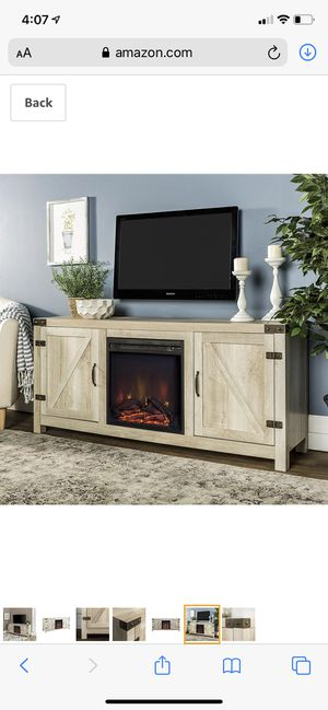 *Brand New* WE farmhouse fireplace wood barn door tv stand, white oak for Sale in Dublin, OH