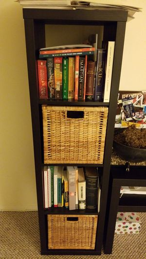 Like new black Ikea cube storage with two baskets for Sale in Darien, CT