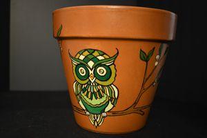 Cute owl on flowering tree terracotta pot for Sale in Phoenix, AZ