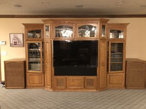 Solid Oak Entertainment Center for Sale in Chino, CA
