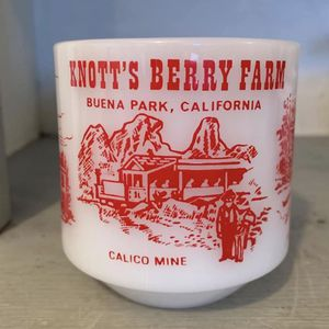 Vintage Federal Glass Knotts Berry Farm souvenir milkglass mug. Paint detail in red is bright and shiny for Sale in Lakewood, WA