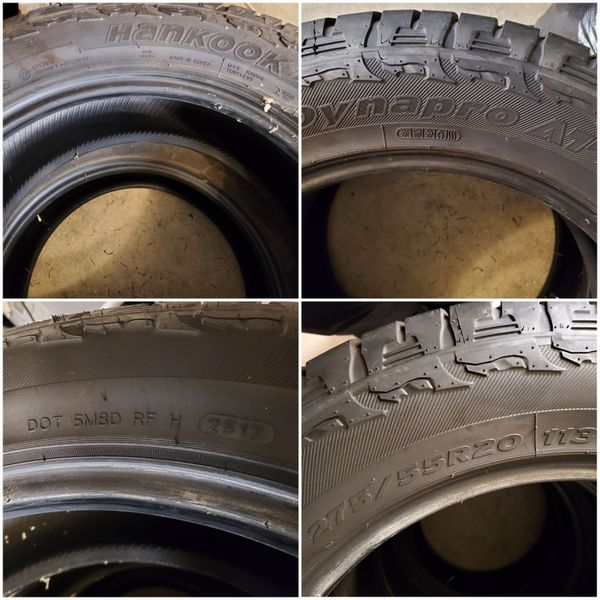 Hankook 275/55R20 Dynapro AT Tires (4), Ford F-150, 60%+ Life