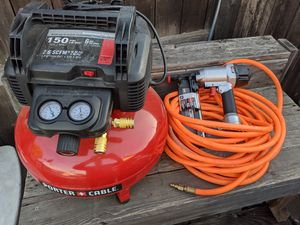 Porter-Cable 6 gallon air compressor with 16 gauge nail gun kit for Sale in Brea, CA