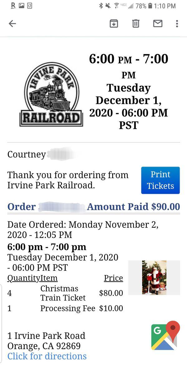 Irvine Park Railroad Christmas Train Tickets