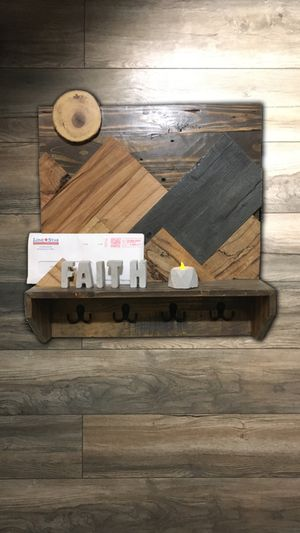 Rustic Mountainscape shelf coat/key hanger w/free succulent/tealight candle holder for Sale in Dallas, TX