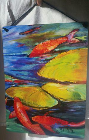Koi Lilypad Watercolor Aluminum Print for Sale in Arlington, VA