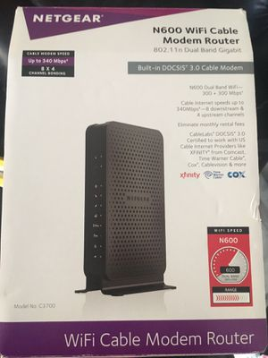 Netgear N600 WiFi Cable Modem Router for Sale in Alexandria, VA