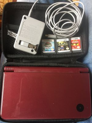 Nintendo DSi XL Red + games and case for Sale in San Francisco, CA