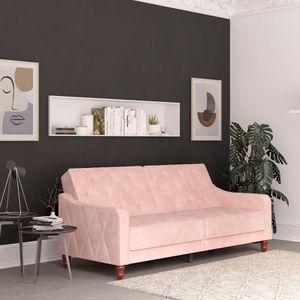 Novogratz Vintage Tufted Velvet Split Back Sofa Bed, Pink for Sale in Houston, TX