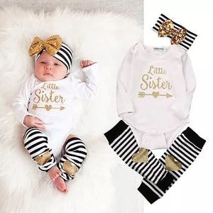 Newborn Kids Baby Girls Infant Romper Striped Socks Baby Girls Clothes Set Striped Girls 4PCS Set with Bow Headband 0-18 Months for Sale in Philadelphia, PA