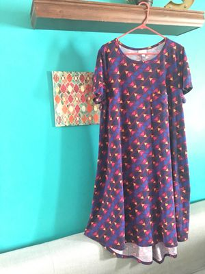 Lularoe Carly size L EUC PURPLE, pink plus and yellow geometric print for Sale in Columbus, OH