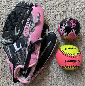THREE PIECE GIRLS Kids Louisville Slugger DIVA Baseball Softball Glove+FPEX Fastpitch Ball+SF GIANTS Baseball ⚾️ for Sale in Danville, CA