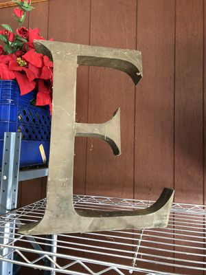 "Large metal E letter. 17"" long. for Sale in Gainesville, GA"