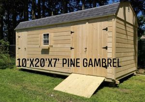 New 10' x 20' x 7' Pine Gambrel Shed with Storage Loft and Shelf Kit for Sale in Chestnut Hill, MA