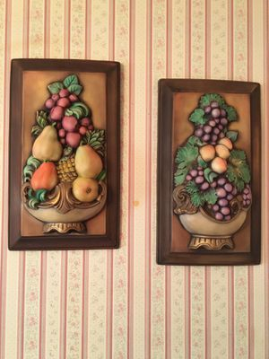 Vintage Ceramic Fruit Topiary Plaques for Sale in Sugar Land, TX