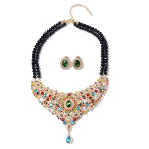 New Item Simulated Multi Sapphire and Multi Color Austrian Crystal Earrings and Drop Bib Necklace 18-20 Inch in Goldtone for Sale in Buffalo, NY
