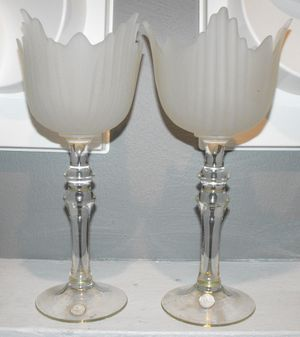 2 Vintage Crystal Frosted Tulips Clear Stem Vases/ Candle Holders made in Romania for Sale in Tampa, FL