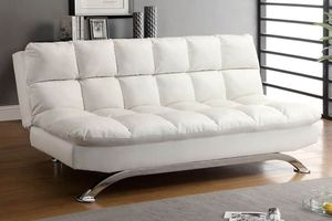WHITE BICAST LEATHER FUTON SOFA ADJUSTABLE BED for Sale in Ontario, CA