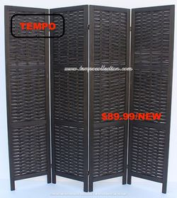 Rustic Woven 4-Panel Room Divider, Black for Sale in Huntington Beach,  CA