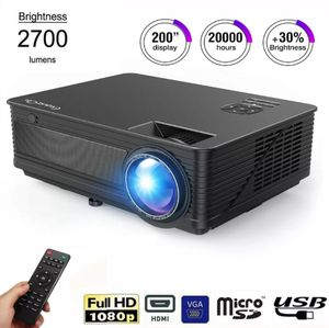 "ExquizOn 1080P 3D 2700 Lumens HDMI Cinema Projector Super Quiet Lumens 200"" LED Home Theater Movie Projector for Sale in Pinellas Park, FL"
