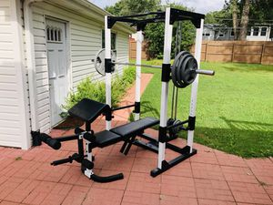 Squat Rack - Olympic Bar - Olympic Weights - Bench Press - Lat Pull Down - Work Out - Gym Equipment for Sale in Naperville, IL