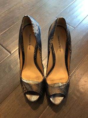 Ladies Pumps. 9N. Worn 1 time. Alexandre Birman .exotic metallic snakeskin and leather . Purchased for $600. for Sale in Dallas, TX