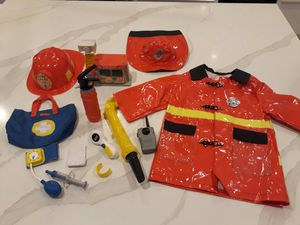Firefighter Costume, Hats, Props, Fire Station that lights up and talks - take all for $8 total for Sale in Rancho Cucamonga, CA