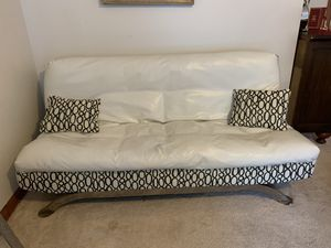 Futon bed faux leather white beautiful.$200 for Sale in Canoga Park, CA