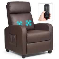 Brown with Padded Seat Ergonomic Adjustable Recliner Massage Chair Single Sofa for Sale in Diamond Bar,  CA