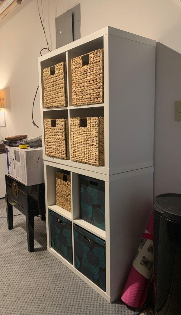 IKEA stackable shelves (2) with (3) storage bins w/ lids and (5) wicker bins