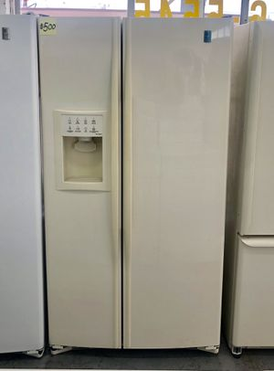 Comes with free 6 Months Warranty-like new biscuit color side by side refrigerator Ge profile for Sale in Warren, MI