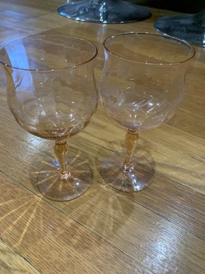 2 beautiful pink antique depression glass wine glasses for Sale in Chicago, IL