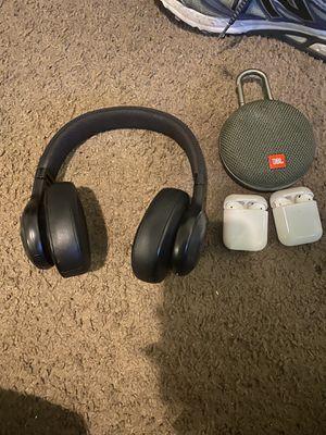Air pods one an 2 an jbl headphones an speaker for Sale in Alexandria, VA