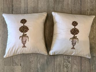 Topiary Embroidered Silk Pillow by White & Paisley House Interiors for Sale in Scottsdale,  AZ